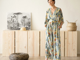 Tropic Flowers - Viscose Rayon - Chalk Blue