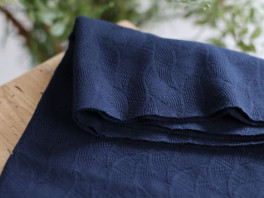 Organic Leaf Jacquard - Indigo Night